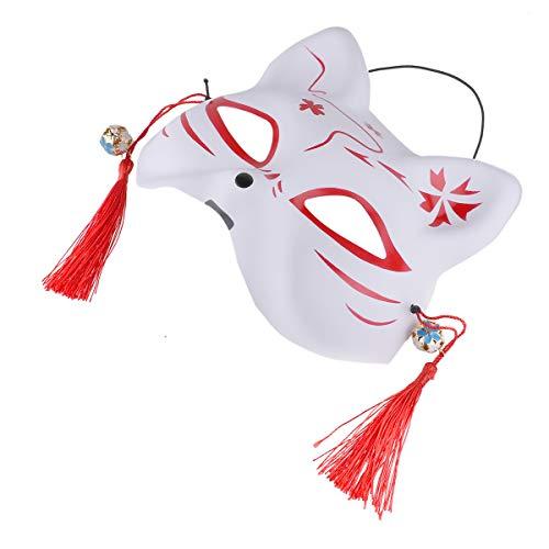 ze Halbmaske mit Quasten und Kleinen Glocken Gesichtsmaske Cosplay Maske für Masquerades Party Karneval Halloween Festival Kostüm Rot B One Size ()
