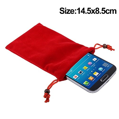 "DFV mobile - Case Cover Soft Cloth Flannel Carry Bag with Chain and Loop Closure for =>      APPLE IPHONE 6 [4,7""] > Brown Red"