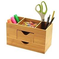 Desk Organiser Tidy, Stationery Box Made of Natural Bamboo Wood