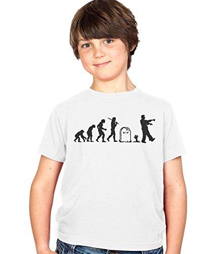 Evolution of a Zombie Kinder T-Shirt Childs Ages 3-13 Jungen and Mädchen T-Shirt - Childrens weiß, Klein