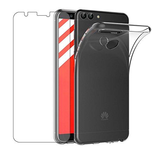 Huawei P Smart Hülle & Panzerglas, Leathlux P Smart Durchsichtig Case Transparent Silikon TPU Schutzhülle Premium 9H Gehärtetes Glas für Huawei P Smart/ Huawei Enjoy 7S