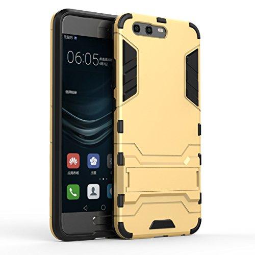 Apanphy Huawei P10 Hülle ,Dual Layer Kratzfeste Tasche Schutzhülle mit Ständer für Huawei P10 case cover, Gold