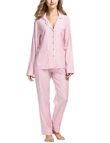 EKOUAER Damen Pyjama Sets Gestreifte Comfort Langarm Nachtwäsche Mit Pjs Hosen groß rot - Streifen-pyjama-set