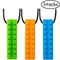 STWIE Sensory Toys Chew Necklace for Autism Children,Adhd Toddlers 1-3,Oral Motor Teething Babies,Anxiety Boys &Girls- 3Pack FDA Safe Silicone Gummies Chewing Pendant Autistic Toys