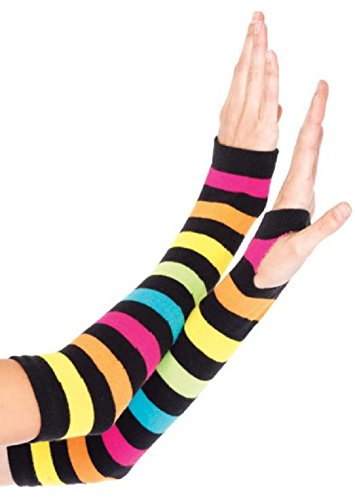Leg Avenue Damen bunt gestreifte Regenbogen Handschuhe Fingerlos Einheitsgröße