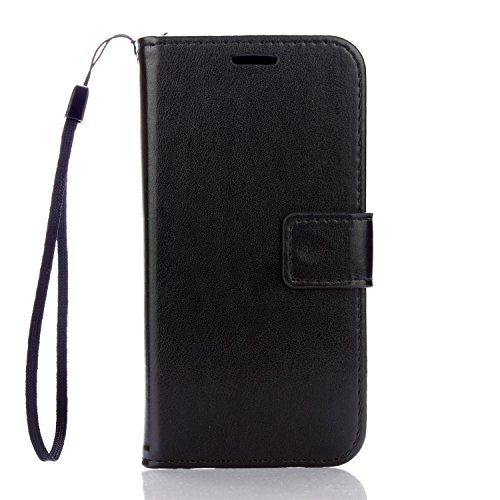 """Samsung Galaxy J3 2016 Case, Cozy hut PU Leather Wallet Case for Samsung Galaxy J3 2016 Flip Case Bookstyle Cover Premium Quality Leather Pure Black Wallet Case Shell PU Cell Phone Holster with Hand Strap Stand Function Credit Card Slots Magnet Closure Anti-Drops Dustproof Protective Shell for Samsung Galaxy J3 2016 / SM-J310 5,0 """" - black Test"""
