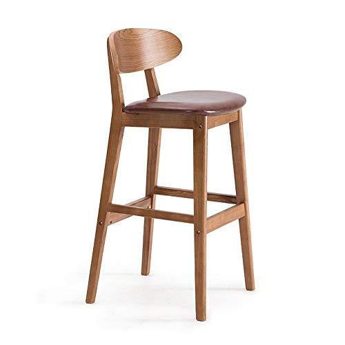 - Brown-leder-counter (Massivholz Barhocker PU Leder Sitz Hochhocker Moderner Minimalist Mit Rückenlehne Home Küche Esszimmerstühle Cafés Counter Lounge Stühle (Color : Brown))