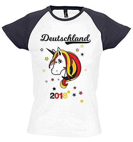 Livingstyle & Wanddesign Damen T-Shirt Milky WM 2018 Motiv 8 Mit Name und Wunschnummer Einhorn Beauty, Gr. S