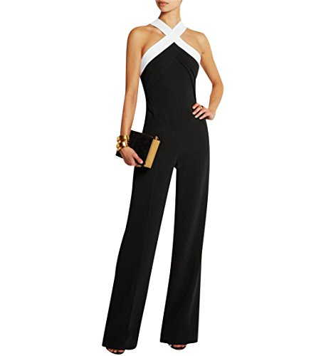 Damen Schwarz Festlich Elegant Rot Jumpsuit Gürtel Ärmellos breit Bein Overall Catsuit Clubwear Kleidung