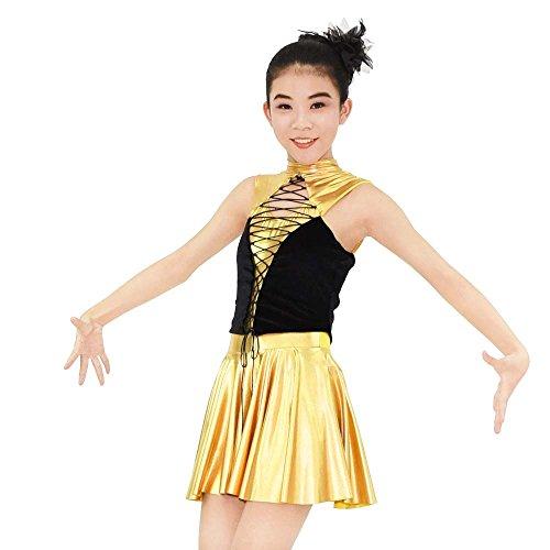 Midee Jazz - Tanz - Kostüm Goldene Metallische Vereitelt Spandex Performance Kleid Für Mädchen (Gold, (Tanz Hop Mädchen Hip Kostüme)