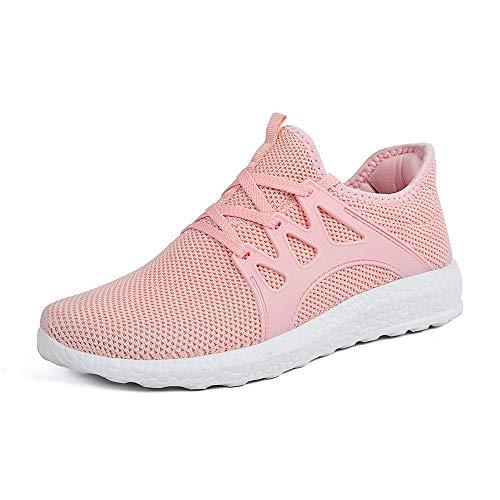 ZOCAVIA Herren Damen Sneaker Running Laufschuhe Sportschuhe rutschfeste Sneaker Rosa 38 EU