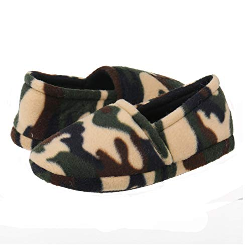 Onmygogo Boys Camouflage Fleece Indoor Slippers