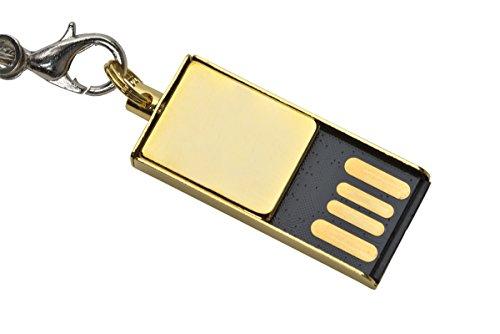 aricona 4 GB Mini USB Stick aus Metall in Gold – Speicherstick Design Micro Slim Drive - 2.0 Flash Speicher – extrem kleiner & leichter Micro Memory Stick, idealer Anhänger