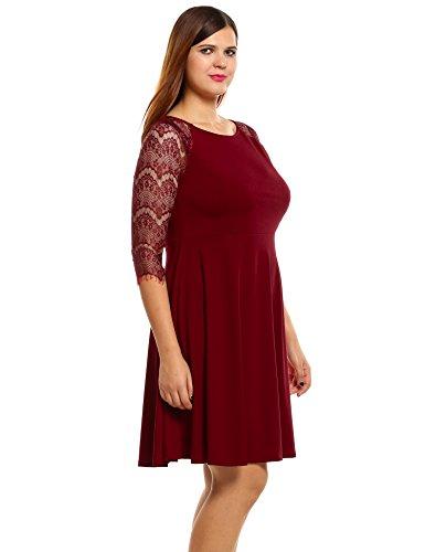Meaneor Damen Kleid Große Größen Abendkleider Spitze 3/4 Arm Knielang Party Festlich Cocktailkleid Gr.XL-4XL Weinrot
