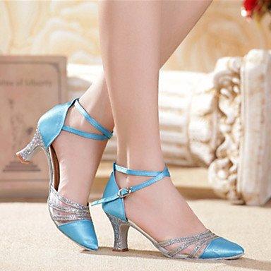Silence @ Chaussures de danse pour femme ventre/latine/Salsa/Samba satiné/synthétique Stiletto Talon Vert/rouge/doré/multicolore doré