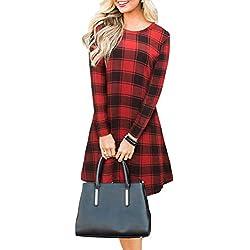 Blooming Jelly Mujer Plaid Vestido Manga Larga Swing Jersey Invierno Camiseta de Ropa para Mujeres Rojo Medium = 40 EU