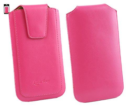 Emartbuy® Mediacom PhonePad Duo S510L 4G Sleek Range Rosa Cuero PU de Lujo Funda Carcasa Case Tipo Bolsa ( Size 4XL ) con Cierre Magnético y Mecanismo de Pestaña para Estirar