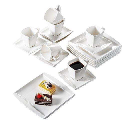 Malacasa, Serie Blance, 36 tlg. Set Cremeweiß Porzellan Kaffeeservice Geschirrset, mit 12 Stück...
