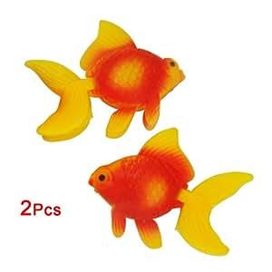 SODIAL(R) 2 x poisson rouge artificiel En plastique Orange D¨¦coration pour aquarium