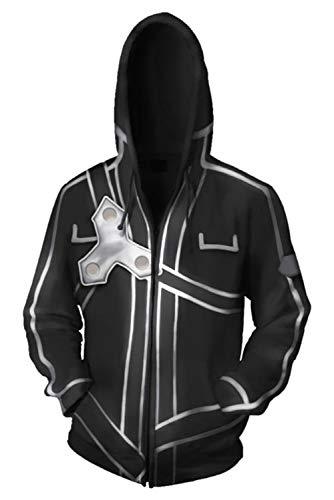 RedJade Caballeros Damas Chaqueta con Capucha Suéter con Capucha Chaqueta de Sudor Sudadera con Capucha Negro Sao Sword Art Online
