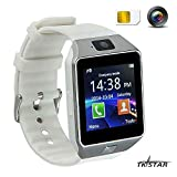 écran Tactile Montre Smart Watch avec téléphone Portable Intelligent Bluetooth Fitness Sommeil Monitor Audio Play Facebook dz09 Blanc