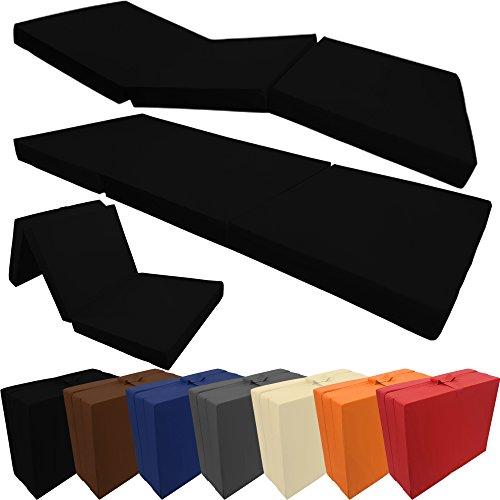 proheim Klappmatratze mit Microfaserbezug viele Größen und Farben wählbar zusammenklappbares Gästebett Faltmatratze faltbares Notbett, Farbe:Schwarz, Größe:190 x 60 x 7 cm