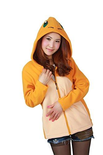 (Casa Unisex Cartoon Jacke Pyjama Tieroutfit Seitentaschen Reißverschluss Mit Kapuze Tier Cosplay Sweatshirt Halloween Kostüm Hoodies Charmander(XL, Charmander))