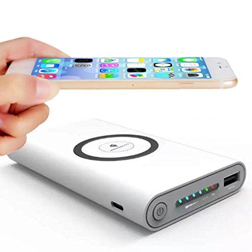 Hunpta Tragbare externe USB-Energien-Bank 8000mAh u. Drahtloses Ladegerät 2 in 1 für Iphone X (Weiß) Candy-bar-handys
