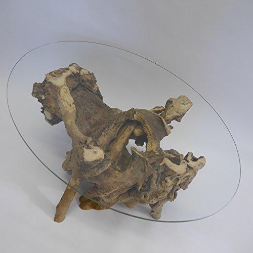 Bois de Racine Sac à racine Table en bois table avec plateau en verre ovale 95 x70 cm