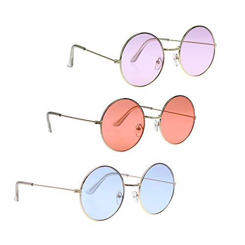 Magic show John Lennon Hippie Stil der 60er Jahre Stil Kreis Sonnenbrille-Gläser Gefälligkeiten, Kostüm und Party Zubehör - 3 Pack (Pink, lila und blau)
