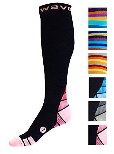 Kompression Socken (1Paar) für Damen & Herren von Wave–Beste für Running, Leichtathletik, Crossfit, Flight Reisen, Still Schwangerschaft, (Kleid Komfort Socken)