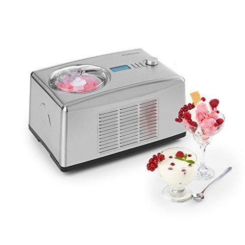 Klarstein Yo & Yummy 2-in-1 Eiscremebereiter & Yoghurt Maker Eiscremebereiter Joghurtmaschine Softeismaschine (1,5 Liter, 150 Watt, Timer, Restarbeitszeitanzeige, 150 Watt, Edelstahl) silber