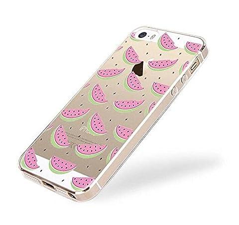Étui iPhone 5, iPhone 5S étui, Ruirs Nice coloré d'impression ultra-transparent transparent TPU Bumper Housse Coque Etui pour iPhone 5 /iPhone 5S(pastèque/watermelon)