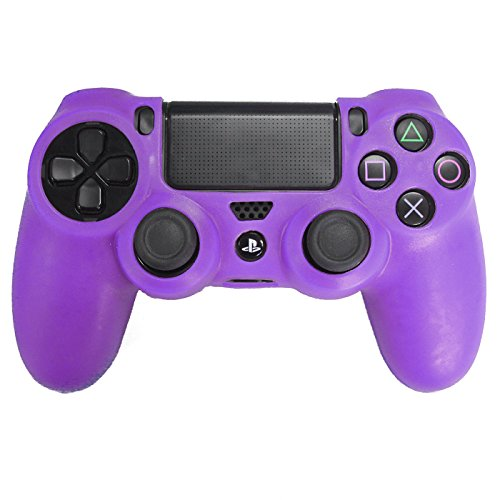 Price comparison product image HDE PS4 Controller Skin Protective Case Cover Silicone Grip for PlayStation Dualshock 4 Gaming Controllers (Purple)