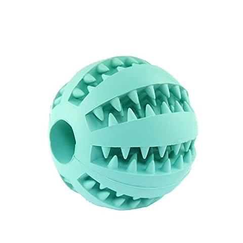 chuangwei® Dual Pet Hund unschädliches Bite beständig Spielzeug Bälle Gummi Zahn Reinigung und Kauen Training Ball (Blau)