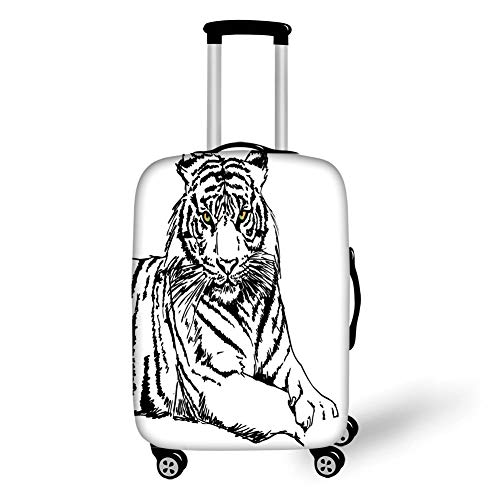 Travel Luggage Cover Suitcase Protector,Safari,Sketch of A Posing Tiger Sharp Eyes Largest Cat Species Dark Vertical Stripes Art,Black White,for Travel L