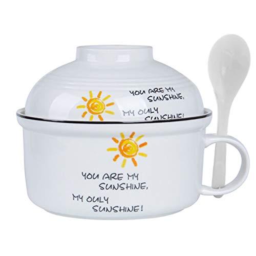 Bols mélangeurs Bol en Céramique Bol De Nouilles Instantané Bol De Soupe Bol avec Poignée Four Micro-Onde Modèle Simple Blanc Vaisselle Essentielle Cadeau Bols mélangeurs