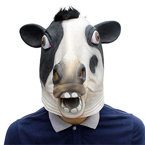 FXXUK Neuheit Halloween Kostüm Party Latex Kuh Kopf Maske Tier Schwarz Deluxe für Erwachsene Kinder Cosplay Kopfbedeckung Dekoration Maskerade Streich Geschenk (Für Erwachsene Kuh Kopf Kostüm Maske)