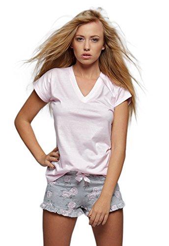 Sensis charmantes Nachtwäsche-Set aus Shirt und koketten Shorts, rosa/grau, Gr. Shirt S/M/L + Shorts M