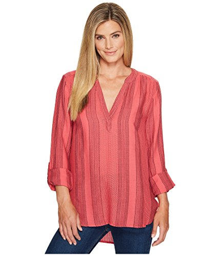Dylan by True Grit Women's Taylor Texture Wide Waffle Stripe High-Low Tunic w/ Roll Sleeve Sailor Red Blouse (Stripe Sleeve Shirt Roll)