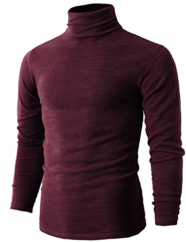 H2H Mens Casual Slim Fit Knitted Thermal Turtleneck Pullover Sweaters Basic Designed - Red Mock Turtleneck Pullover