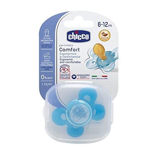 Chicco 00074903210000 Comfort Boy Succhietto, Caucciù, Blu, 6-12 Mesi
