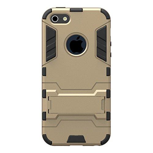 Cuitan 2 en 1 Double Couche Hybride Coque pour iPhone 5S / 5 / 5G, TPU Souple Bumper et PC Rigide Back Cover Built-in Béquille Désign Armure Housse de protection Protecteur Etui Case Cover avec Stylet Or