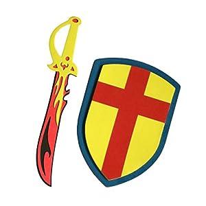 DEPICE Teva-SF-GR - Espuma Espada de Fuego con el Escudo, Amarillo / Rojo