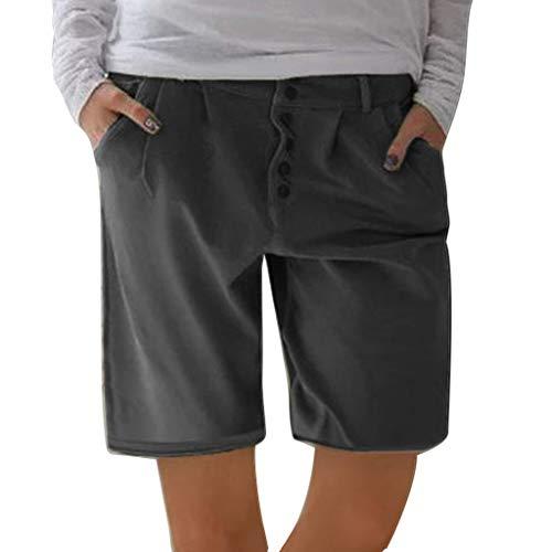 Damen Leinenshorts Sommer Bermuda Casual Kurze Hose Freizeithose Leinen Shorts Elegante Haremshose mit Knöpfen Strand VintageStoffhose Regular Fit Binggong - Plattform Top Basis