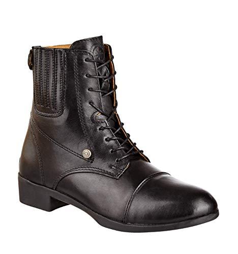Bottines d'équitation avec fermeture éclair à l'arrière. « Advanced BZ Lace » confortable Bottes Boots | cuir véritable | Chaussures d'équitation robuste avec semelle caoutchouc et cuir semelle intérieure | Tailles 35–45 Fallen Petit | Noir & Marron