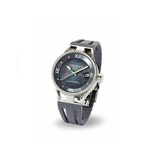 Montre Locman Montecristo 0521V01–00mk00sa au quartz (Batterie) acier Quandrante Bleu Bracelet silicone