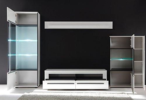 Wohnwand Anbauwand mit LED-Beleuchtung 440939 weiß 330cm 4-teilig - 3