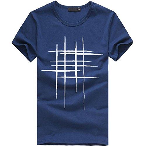 Beliebt!! Shirt Herren,Sweatshirts Herren, Sleeveless T-Shirt,Druck Tees Shirt Kurzarm T-Shirt aus Baumwolle Casual Bluse (L, Marine)
