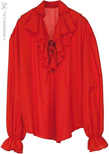 Piraten Shirt Rotes (Hemd XL Rüschen Pirat Piratenhemd rot)